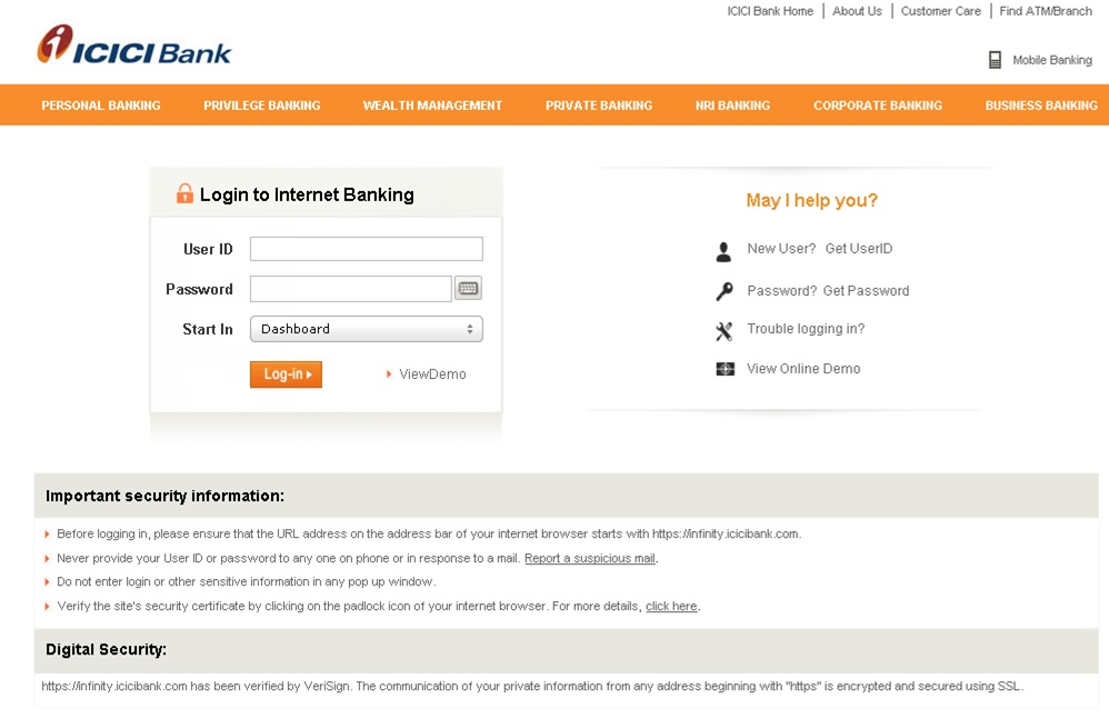 ICICI Bank Online Banking Login page